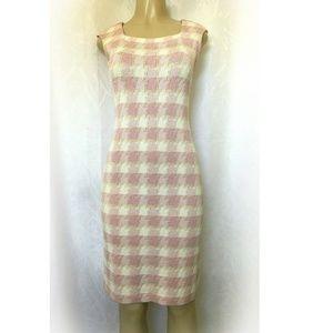 St John Knit Plaid Pink White Sheath Dress 2 XS